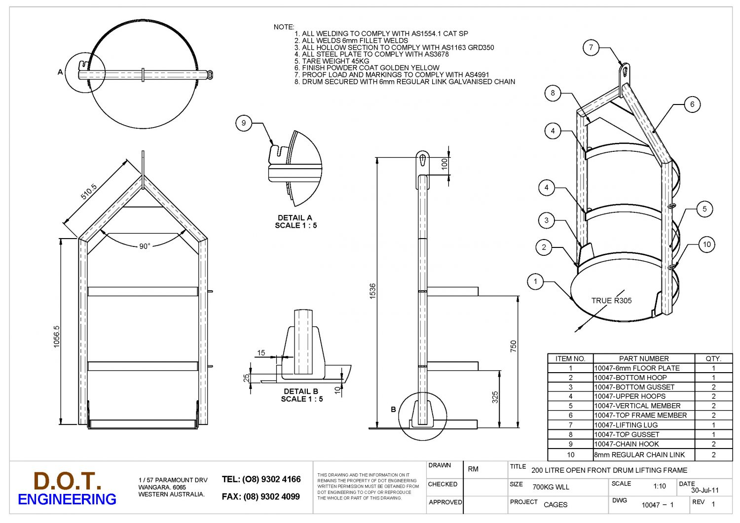 Single Drum Lifting Frame » D.O.T. Engineering