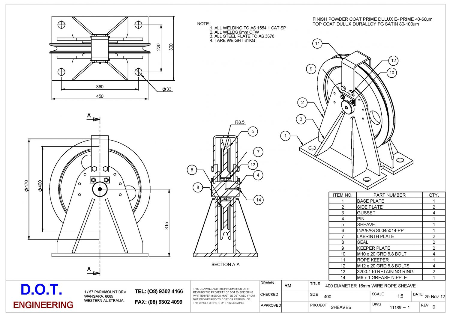 400mm Wire Rope Sheave & Frame » D.O.T. Engineering