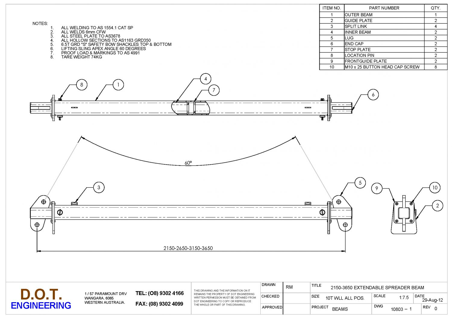 10T WLL 2150-3650 EXTENDABLE SPREADER BEAM » D O T  Engineering